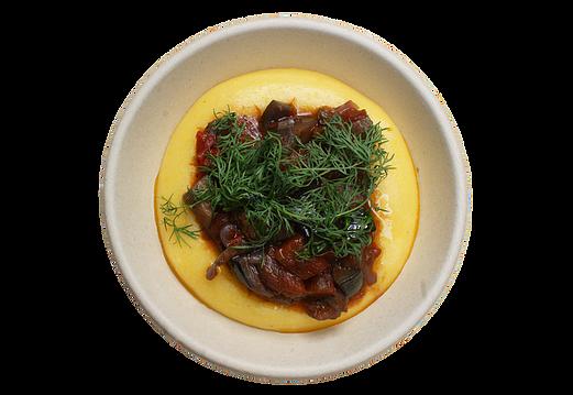 Peberfrugt, aubergine, tomater, løg, pinjekerner, kapers, oliven, basilikum